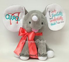 PRODUCTION TIME: 2-3 WEEKS    How stinkin cute is this elephant? Perfect for that upcoming baby shower! Stitching shown is in turquoise, coral,