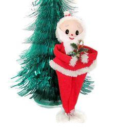 Vintage Christmas Santa, 1960's Felt Santa, Santa Figurine, Kitcsh Christmas Decor, Mid Century