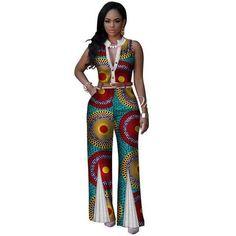 6b2ee3b55e1d African V-Neck Sleeveless Romper Jumpsuits - Dukaiko Fashion African Wear