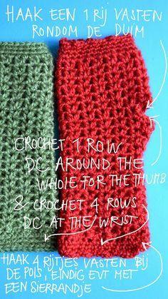 Vingerloze handschoenen met haakpatroon. Crochet pattern fingerless gloves Warm hands (diy)