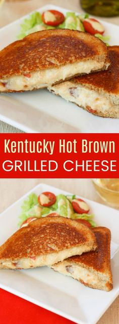 Kentucky Hot Brown Grilled Cheese - the classic open-faced sandwich filled with turkey and bacon becomes these cheesy sandwiches that are a kid-friendly, family favorite comfort food. #cupcakesandkalechips #grilledcheese #sandwich #hotbrown #kentuckyhotbrown #kentuckyderby