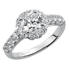Artcarved Bridal: JAIME, 31-V440, round diamond engagement ring with diamond shared prong halo and straight shank setting.  #ArtCarvedBridal