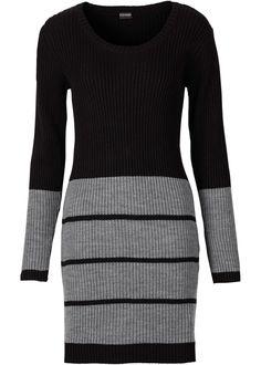 Voir:Jolie robe féminine en maille à encolure ronde et manches longues. Larges rayures contrastantes au niveau des manches et sur la partie jupe. Long. env. 90 cm.