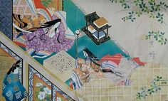 Utsusemi, Tale of Genji. 2 women and a man dressed in heian robes.