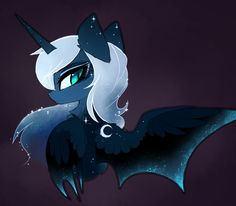 Bat Luna by MagnaLuna My Little Pony Cartoon, My Little Pony Drawing, My Little Pony Pictures, Unicornios Wallpaper, Mlp Twilight, Snake Art, Nightmare Moon, Little Poni, Mlp Fan Art