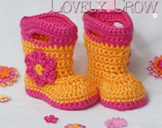 Booties Crochet Pattern Baby Rainboots for Baby Goshalosh Boots - 4 sizes - Newborn to 12 months. digital
