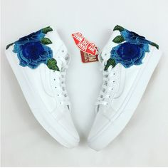 Rose Embroidered Vans Floral Embroidery Vans Roses Custom Vans Women's... ($125) ❤ liked on Polyvore featuring shoes, sneakers, blue, hi tops, sneakers & athletic shoes, unisex adult shoes, blue high top sneakers, rosette shoes, rose sneakers and blue shoes