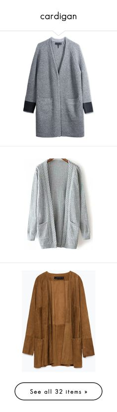 """""""cardigan"""" by maimi-bilik ❤ liked on Polyvore featuring tops, cardigans, jackets, sweaters, coats, outerwear, grey, grey cardigan, grey long sleeve top and grey top"""