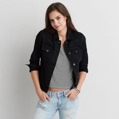 AE Denim Jacket featuring polyvore, women's fashion, clothing, outerwear, jackets, black, button jacket, denim jacket, jean jacket, american eagle outfitters jacket and american eagle outfitters