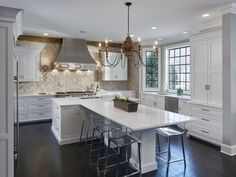 149 fancy white kitchen design and décor ideas that looks cool - page 12 > Homemytri. Kitchen Island Dining Table, Kitchen Island With Seating, Kitchen Island Shapes, Kitchen Island With Table Attached, Long Kitchen Islands, Eat In Island Kitchen, Kitchen Peninsula And Island, Kitchen Island Extension Ideas, Islands With Seating