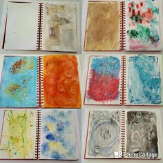 Art journal backgrounds: 1. Collage and gesso 2. Coffee wash 3. Watercolour, paint dabs, stamping 4. Paint, stamping 5. Tissue paper, paint, glitter  5. Cling wrap paint, paint splashes 6. Pallete knife, stamping, gesso 7. Wet on wet paint through spray bottles 8. Salt dye and gesso 9. Ink, wet on wet and gesso 10. Oil pastel and ink