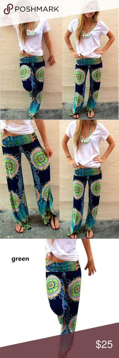 "Boho Multicolor Palazzo Pants Elastic fold over waistband. Abstract print. Polyester/cotton blend material. Very cute!! Waist 29-34"" Hip 41"" Rise 10.5"" Length 40"" Boutique Pants Wide Leg"