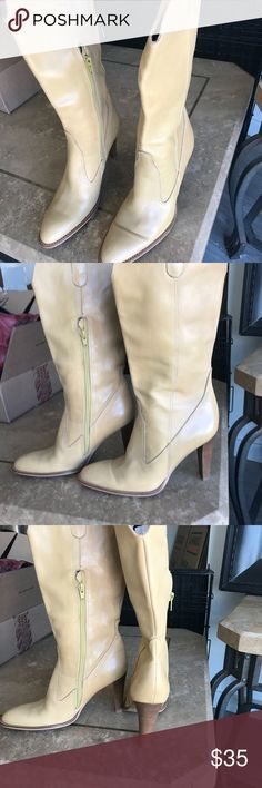 BCBG boots amazing color BCBGirl boots! Amazing light yellow/beige color with wooden heels BCBGirls Shoes Combat & Moto Boots