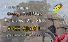 #FenderBag at Orange Peel bikes this Saturday May 26th, 2018 Get Free Stuff, Orange Peel, Touring, Outdoor Power Equipment, Mountain, Bike, Accessories, Bicycle, Bicycles