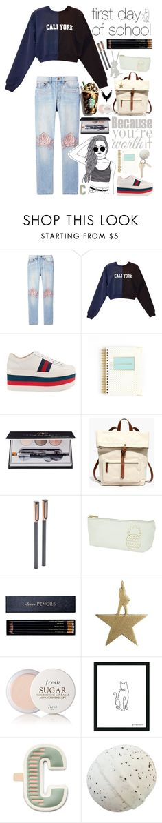 """""""Cali-york"""" by biscuitatlas ❤ liked on Polyvore featuring Bliss and Mischief, Cynthia Rowley, Gucci, Anastasia Beverly Hills, Madewell, poppin., Sloane Stationery, Fresh and FOSSIL"""