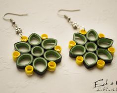 Recycled paper quilled earring and necklace by EchOchCrafts
