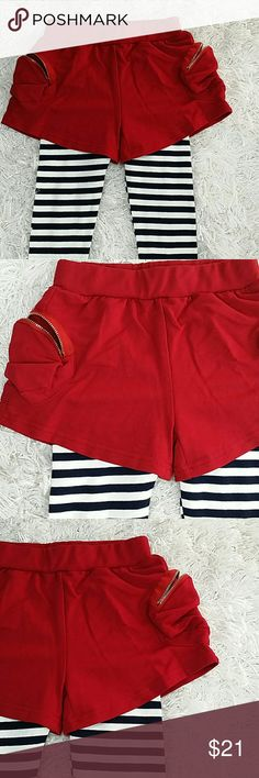 Maroon Stripes Skort.  Kids Adorable skort in maroon zippered shorts and black and white stripes legging.  Very cute item.  This item is brand new and never used. No tags. Bottoms Skorts