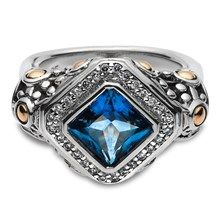 John Hardy London Blue Topaz and Diamond Ring in Sterling Silver and 18KT Yellow Gold.  $595