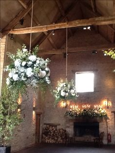 Love the full baskets - Classic green and white floral hanging basket displays. Cripps Barn wedding, By Aquaflorist.com