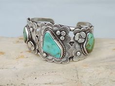 Old-Pawn-Vintage-SS-Genuine-Turquoise-Bracelet-Cuff-Navajo-Jewelry-Unsigned-60g