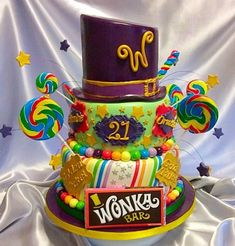 Willy Wonka inspired chocolate and candy cake