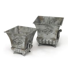Metal Planters, Hand Painted, Textured Grey Finish #planters #garden #decor