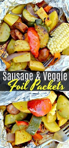 Easy Sausage and Veggie Foil Packets for Grilling Love foil packet meals? Try these easy Sausage and Veggie Foil Packets for an outstanding backyard grilling or camping meal idea. Camping Meals For Kids, Camping Desserts, Camping Snacks, Kids Meals, Camping Recipes, Camping Dishes, Camping Cooking, Family Camping, Camping 101