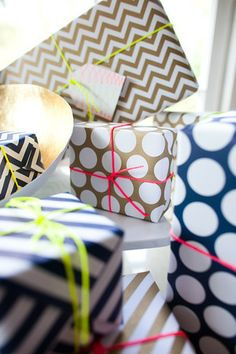 Patterned wrapping paper with neon floss