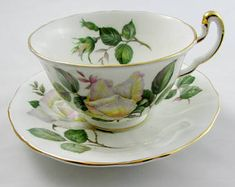 "Vintage Tea Cup and Saucer, Bone China, by Adderley with Rose, ""Pour Toi"" Pattern"