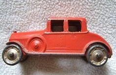 Rare Original 3 inch 1920's Tootsietoy Sedan Coupe  Red with Gold Wheels  #TootsieToy