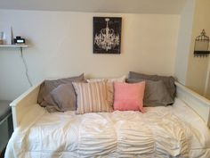 DIY - my first room makeover: Decorative Pillow covers - Elvilda & Sanela (IKEA), White comforter - Julissa (Bed Bath & Beyond), Bed - Hemnes Daybed white (IKEA), iHome Docking Station (Amazon), Hanging Jewelry Holder (Michael's), Chandelier canvas picture (Home Goods)