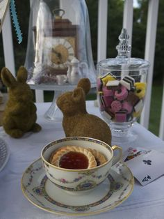 Teacups at an Alice in Wonderland tea party! See more party planning ideas at CatchMyParty.com!