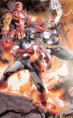 Iron Man, Thor and Captain America together - Avengers Endgame reference Avengers Comics, Avengers Art, Marvel Comics Art, Marvel Comic Universe, Marvel Heroes, Marvel Avengers, Avengers Tattoo, Dc Universe, Comic Books Art