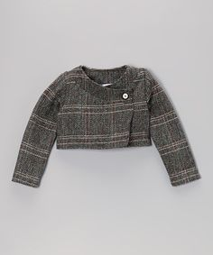 This Mint Plaid Tweed Cropped Jacket - Infant, Toddler & Girls by Right Bank Babies is perfect! #zulilyfinds