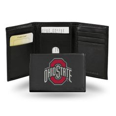 Sporty, sleek and compact! A classic tri-fold leather wallet built with organization and durability in mind. Its interior contains multifunctional pockets, plastic picture holder and full length billfold. A handsome wallet with Buckeyes pride. Duke Blue Devils, Leather Trifold Wallet, Best Wallet, Ole Miss, Oklahoma City Thunder, Thunder Team, Ohio State Buckeyes, Iowa State, Red And Grey