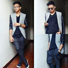 leather & grey Outfit Posts, My Outfit, People Around The World, Suit Jacket, Breast, Suits, Grey, My Style, Leather