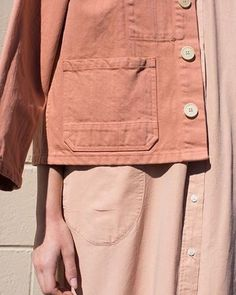 Give workwear classics the feminine touch with shades of blush and salmon, like this @caroncallahan Krasner jacket in Melon Denim. Womenswear weekend by @laura_wgsn