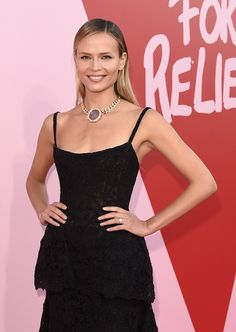 Model Natasha Poly wore a full length strappy black dress and slicked back hair with a side parting. She wore a vintage Bulgari necklace featuring a giant coin on a chunky yellow gold chain at the Fashion For Relief gala.For more glamour and celebrity fashion at the Cannes Film Festival and red carpet jewellery spotting travel here: http://www.thejewelleryeditor.com/jewellery/top-5/best-red-carpet-jewellery-jewelry-cannes-film-festival-2017-weekend/ #jewelry