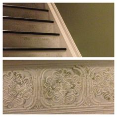 Textured wallpaper border ... Painted stairs .... Used olivine with an overcoat of white