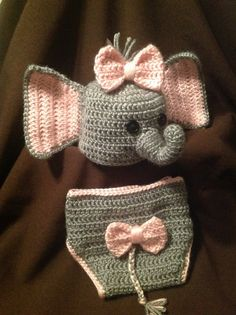 Newborn Baby Elephant crochet diaper cover by ComfyNCozyBoutique