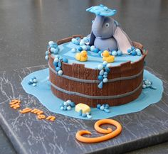 RP by http://www.Splashtablet.com the awesome suction-mount,  #iPadCase. For #Shower & #Bath. Elephant cake to go with the rubber ducky punch