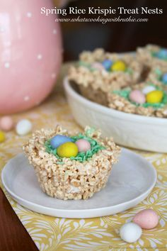 Spring Rice Krispie Treat Nests are adorable and fun to make with the kids! from www.whatscookingwithruthie.com #recipes # desserts