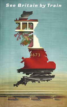 See Britain by train Imperial Airways Fly Through Europe 1935 vintage travel poster Affiches de voyage travel . Old Poster, Retro Poster, Poster Ads, Advertising Poster, Poster Prints, Train Posters, Railway Posters, Abram Games, Kunst Poster