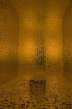 The Death of James Lee Byars, 1982/1994, by James Lee Byars Gold leaf, crystals, and Plexiglas