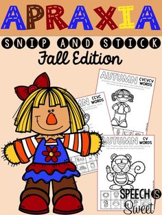 Fall Apraxia: Snip and Stick! These fun cut and glue activities will make your speech therapy sessions interactive and fun! These autumn sheets address 8 different syllable patterns such as CVC and CV! These are also ideal for phonology students!