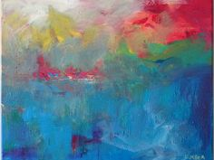 16 x 20 Fine Art Abstract Painting Fire Water by LindaMillerArt, $85.00