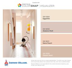 I found these colors with ColorSnap® Visualizer for iPhone by Sherwin-Williams: Eggwhite (SW 6364), Abalone Shell (SW 6050), Naive Peach (SW 6631), Classic Sand (SW 0056).