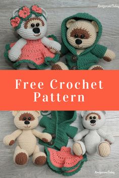 Teddy Bears are the things we never grow out of.  Create a couple of honey teddy bears using our fabulous crochet pattern with step-by-step photos and instructions for removable teddy clothes!