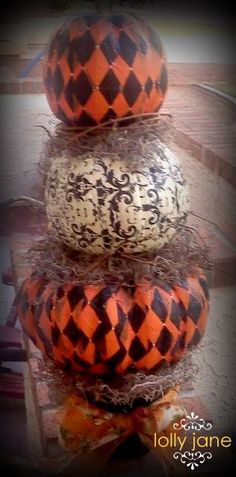 Pumpkin Topiary:  three fake pumpkins from michaels, hodge podge and paper lunch napkins! twigs and hotglue to make into topairy. great idea!