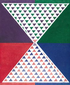 """""""Triangular World"""" (2013) uses another common geometric shape and runs with it. I think it's an effective demonstration of repetition, color, and patience on the part of the artist. 11 x 14, artists' markers  on paper."""
